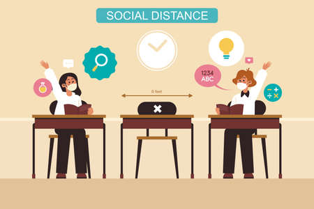 Woman's in social distancing sitting on chair in class room. new normal lifestyle banner social distancing in class room Concept, Prevention tips infographic of coronavirus 2019 nCoV.