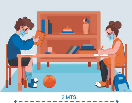 Woman and man in social distancing sitting on chair in class room. new normal lifestyle banner social distancing in class room Concept, Prevention tips infographic of coronavirus 2019 nCoV.
