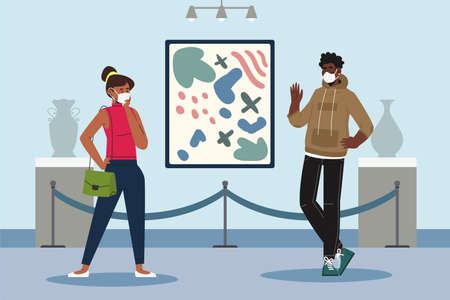 Visitors of classic art gallery or museum viewing exhibits. People or tourists looking at paintings at exhibition. Men and women enjoying artworks.