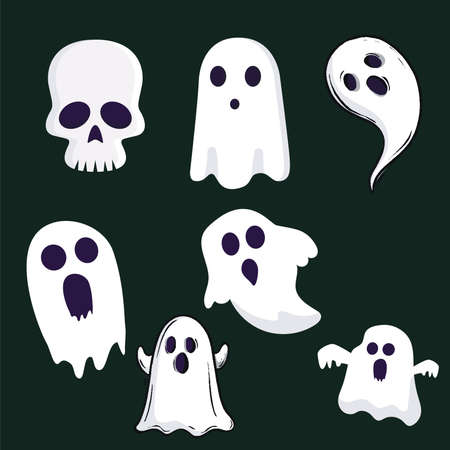 Halloween party colorful icons set illustration.