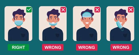 How to wear medical face mask properly. Instruction for personal hygiene during coronavirus. Boy characters wearing right and wrong way of surgical mask or face covering. Ilustração Vetorial