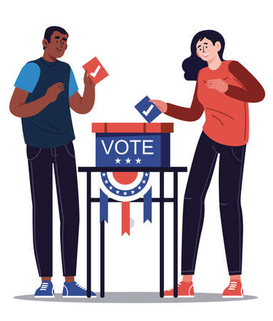 Presidential election banner background. USA Presidential election 2020. Man and woman putting voting paper in the ballot box.