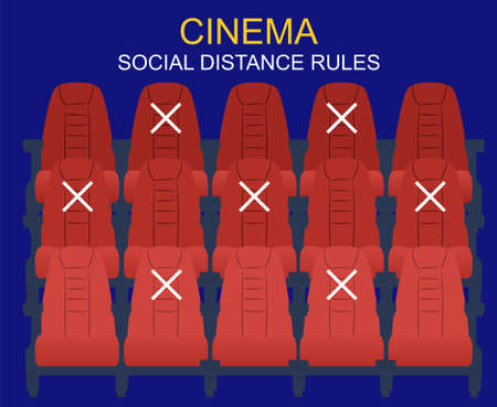 Social distance in the cinema. People keep their distance, sit through one chair, safe. There are few people in the Cinema Hall, virus protection. 向量圖像