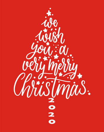 We wish you a Merry Christmas text. Calligraphy text for greeting cards 2020 on red background Illusztráció