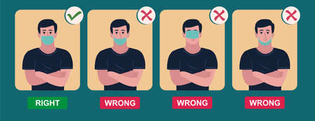 How to wear medical face mask properly. Instruction for personal hygiene during coronavirus. boy characters wearing right and wrong way of surgical mask or face covering. Ilustración de vector