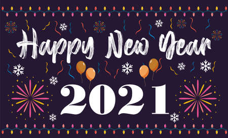 Happy New Year 2021 background template. Happy New Year holiday symbol template.