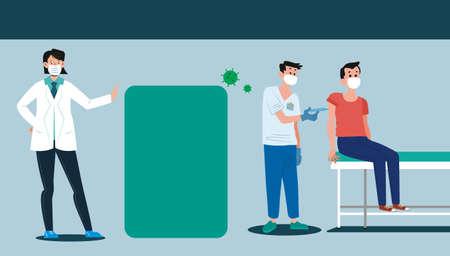 Time to Vaccinate. Virus, vaccination awareness concept. Ilustração Vetorial