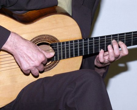 Classical guitar. Hands of the guitarist close up.