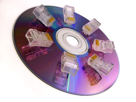 Tips of a network cable on cd-rom. On a white background