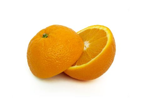bisected: Orange bisected on a white background. Stock Photo