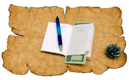 A notebook of pen is 20 dollars on a old paper background.