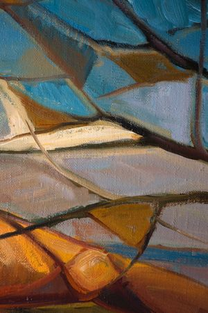 The abstract oil painting on canvas. Autumn day.