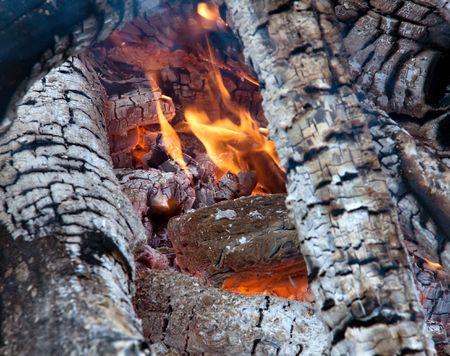 Bonfire. Live fire. Firewood burn hot. Stock Photo