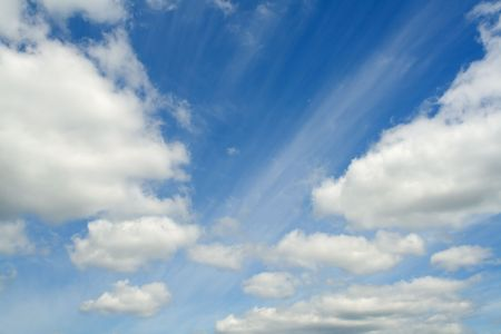 Net blue sky, white clouds lot. The road winds. Stock Photo