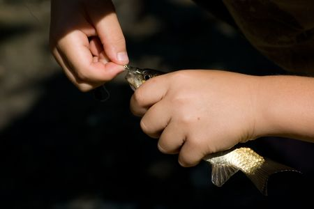 Catch a small fish on the hook. Little fisherman happy.