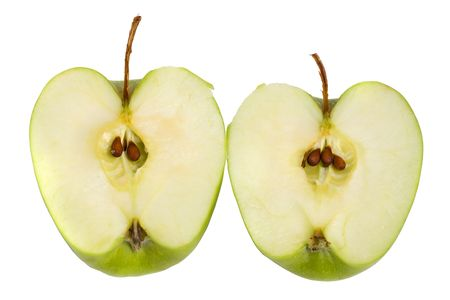Apple cut into half. On a white background.