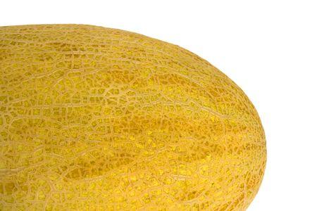 encrespado: Mel�n amarillo sobre un fondo blanco. Picado piel.