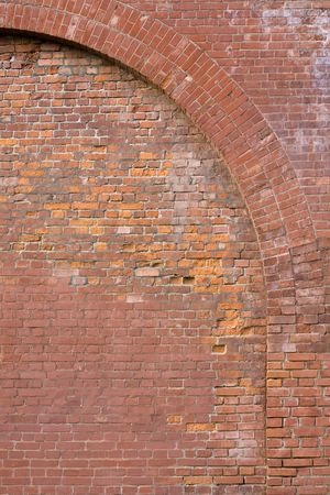 affected: Kremlin brick wall. Bricks affected by time. Stock Photo