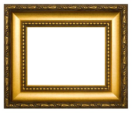 Golden frame. Isolated on a white background. Stock Photo