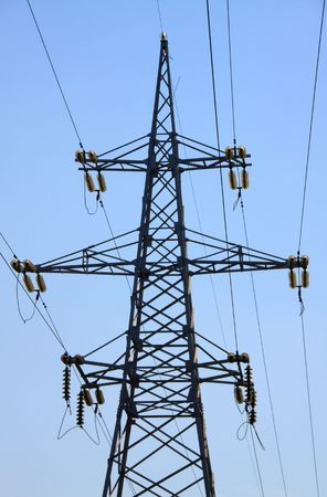 Reliance power line. Wires against the sky.