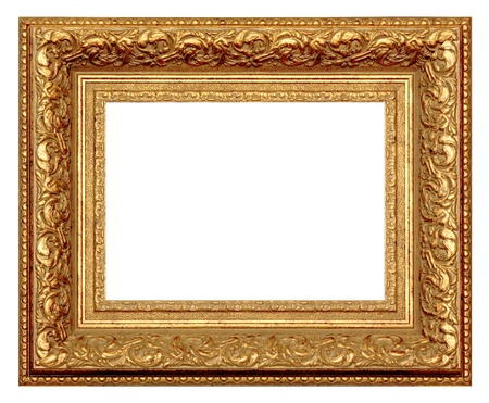 Golden frame for painting and photography. Isolated on a white background.
