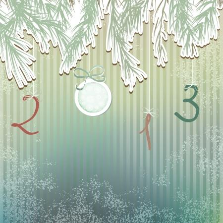 fur tree: Disegnata pelliccia di disegno EPS8 mano di Natale