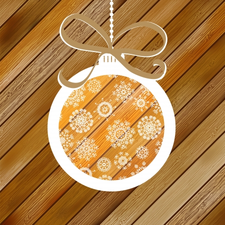 Christmas wood background with ball     EPS8 Stock Vector - 17525451