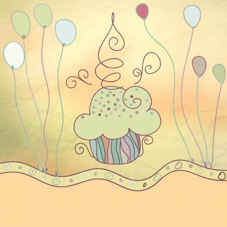 Vintage card with cupcake    EPS8 Vector