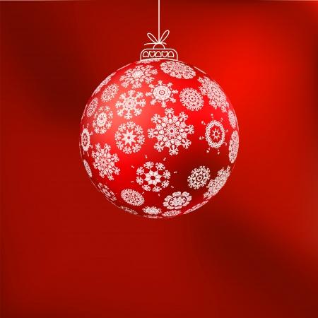 hristmas achtergrond met rode bal, EPS, 8 Stock Illustratie