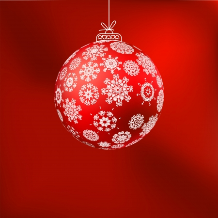 hristmas: �hristmas background with red ball  EPS 8