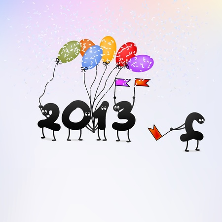 Funny 2013 New Year s Eve greeting card    EPS8 Stock Vector - 17525362