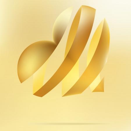 angel alone: Golden heart on a beidge background    EPS8