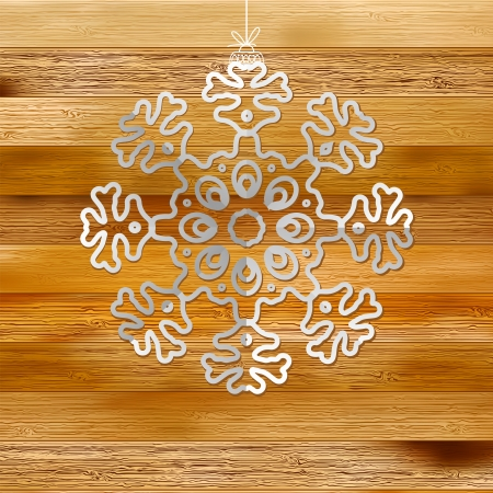 White paper christmas snowflake on a wood     EPS8 Stock Vector - 17525681