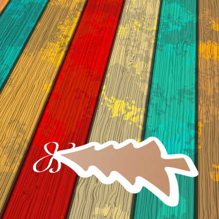 Tree on wooden background     EPS8