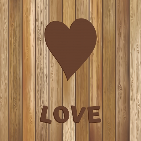 Heart in wood background template     EPS8 Vector