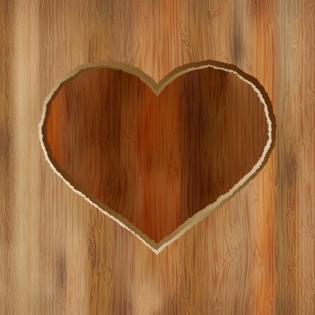 Grunge heart carved into wooden plank     EPS8 Stock Vector - 17525673