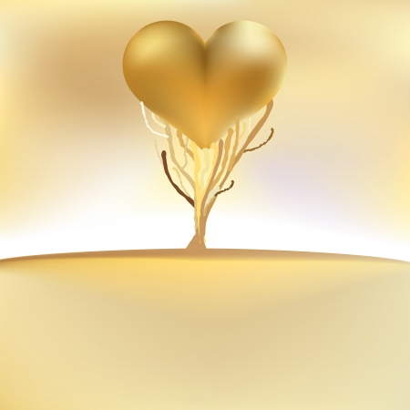 Gold valentines tree card     EPS8 Vector