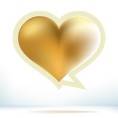 Valentine s day gold speech bubble     EPS8 Vector
