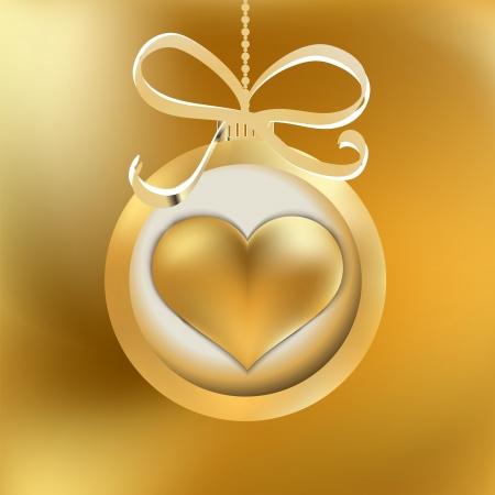 One golden Christmas heart     EPS8 Stock Vector - 17525646