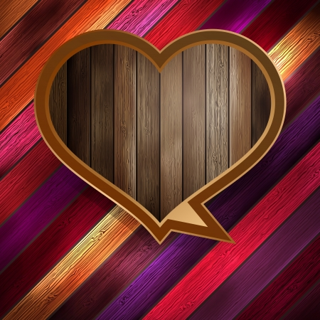 Colorful wooden heart on wood  EPS 10
