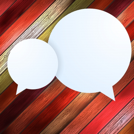 Speech Bubble on wood background  EPS 10 Vector