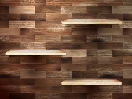 Empty shelf for exhibit on wood background