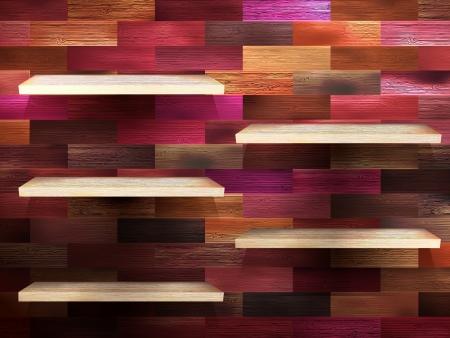 Empty shelf for exhibit on color wood Ilustração