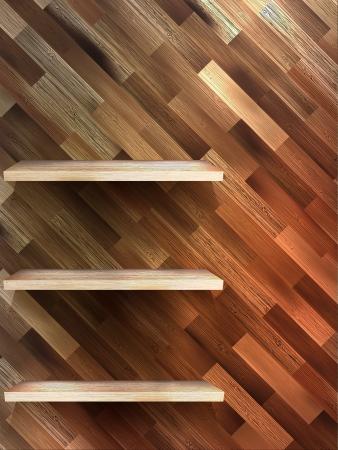 Empty shelf for exhibit on wood background Vector