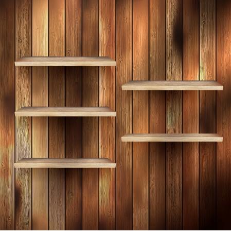 tekstura: Puste półki wystawa na tle drewna