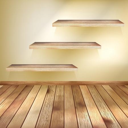 Kamer met de planken en houten vloer EPS-10 Stock Illustratie