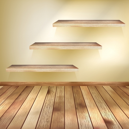 Room with the shelfs and wooden floor  EPS 10
