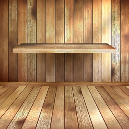 Empty interior with wood shelf  EPS 10 Illustration