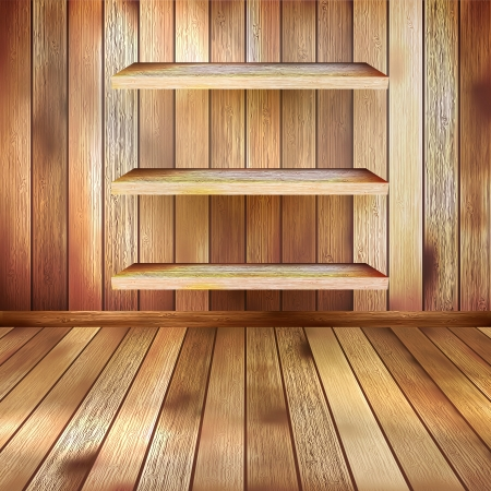 Grunge interior with three shelves  EPS 10