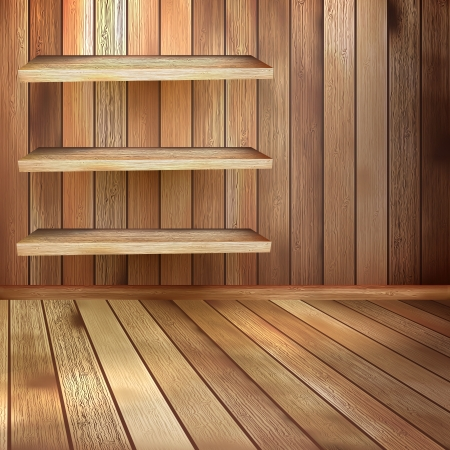 Room with the shelfs and wooden floor  EPS 10 photo